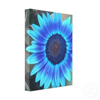 Cool Canvas Painting Ideas   Shades of Blue Sunflower Wrapped canvas Print  by minx267. Easy Things To Paint   Mini art project  2  Canvas painting