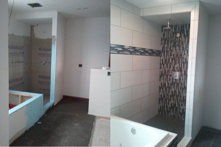 A Bathroom Tile Job Before And After.