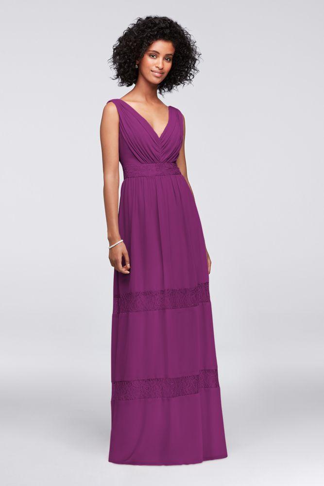 Lace-Inset Chiffon V-Neck Long Bridesmaid Dress Style F19660