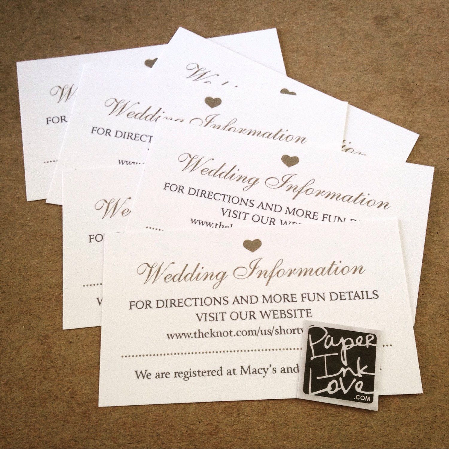 Best Places For A Wedding Registry: Wedding Website Cards, Enclosure Cards, Wedding Hashtag