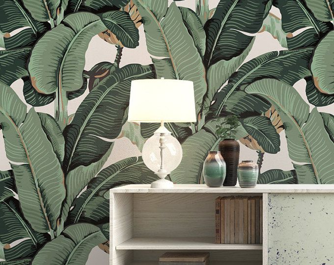 Browse Unique Items From Tropicwall On Etsy A Global Marketplace Of Handmade Vintage And Creative Goo Leaf Wallpaper Banana Leaf Wallpaper Peelable Wallpaper