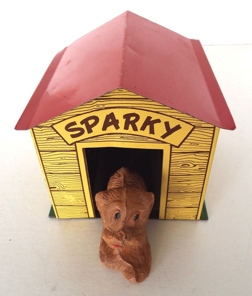 VINTAGE SPARKY RESIN DOG IN METAL DOGHOUSE MECHANICAL TOY