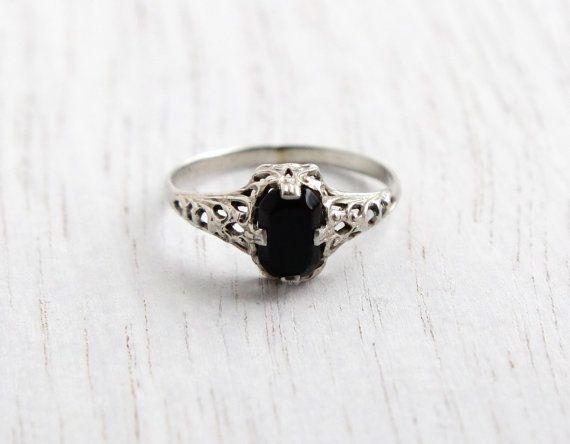 239f07108d6 Vintage 14K White Gold Filigree Ring - Antique Art Deco Knuckle ...