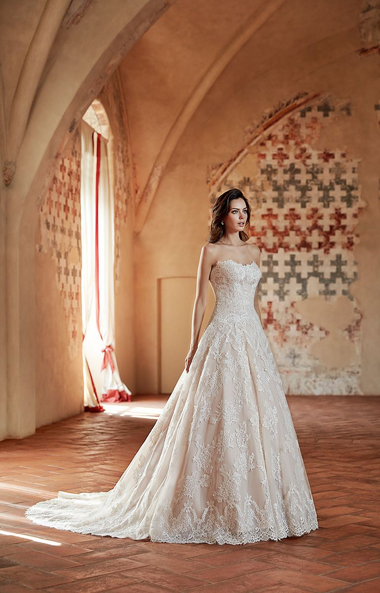 Champagne and ivory wedding dress  Eddy K Couture Style CT ALine Square Lace Sleeveless Colors
