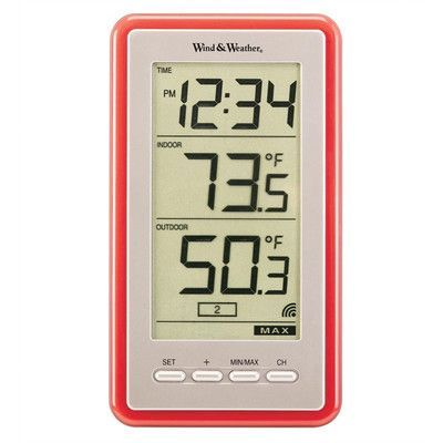 Wind & Weather Large-Digit Indoor / Outdoor Spot Thermometer and Clock Color: