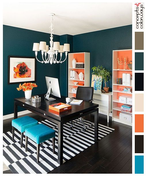 Interior Color Palettes, Colorful Office, Black And White