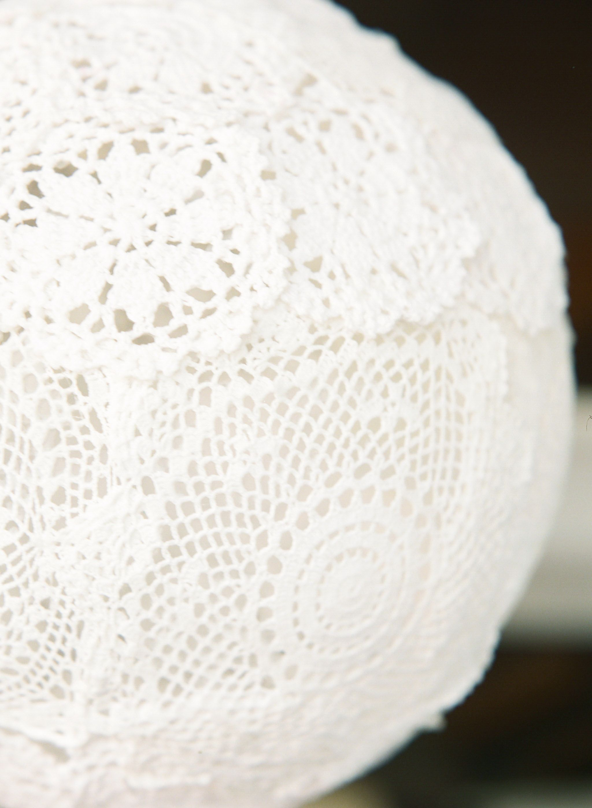 Lace doily lantern made with much help from @Kyla Rae