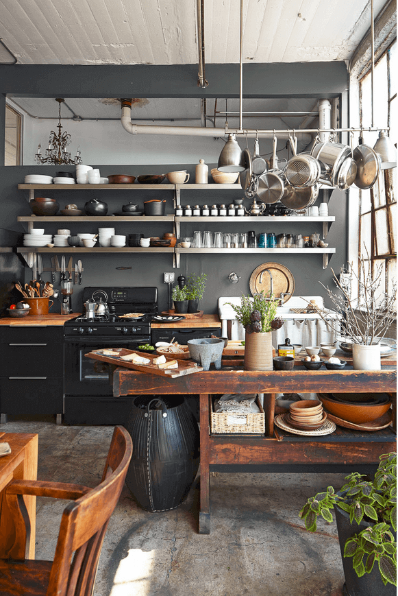 Open Shelving In An Industrial Style Kitchen Industrial Kitchen Design Home Kitchens Kitchen Interior