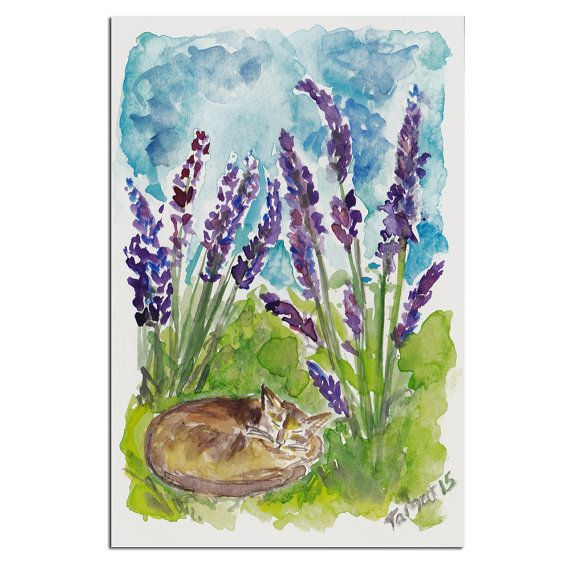 Cat In The Fields Of Lavender - Original Watercolor Painting