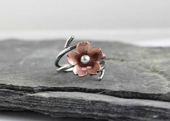Cherry Blossom Double Wrap adjustable Ring, Spring Jewelry, Blossoms, Gifts for her, Wedding day jewelry, Gifts under 50 on Etsy, $48.00