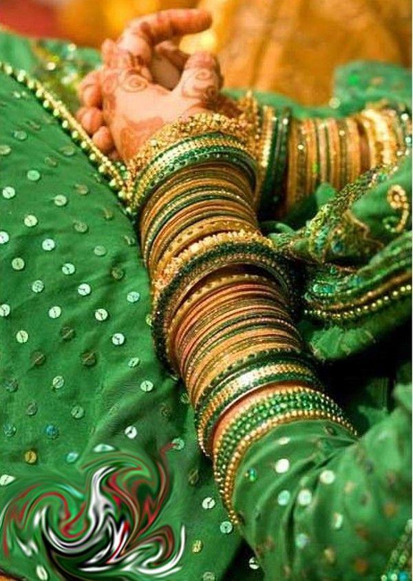 green bridal bangles - Google Search | Emerald obsession ...