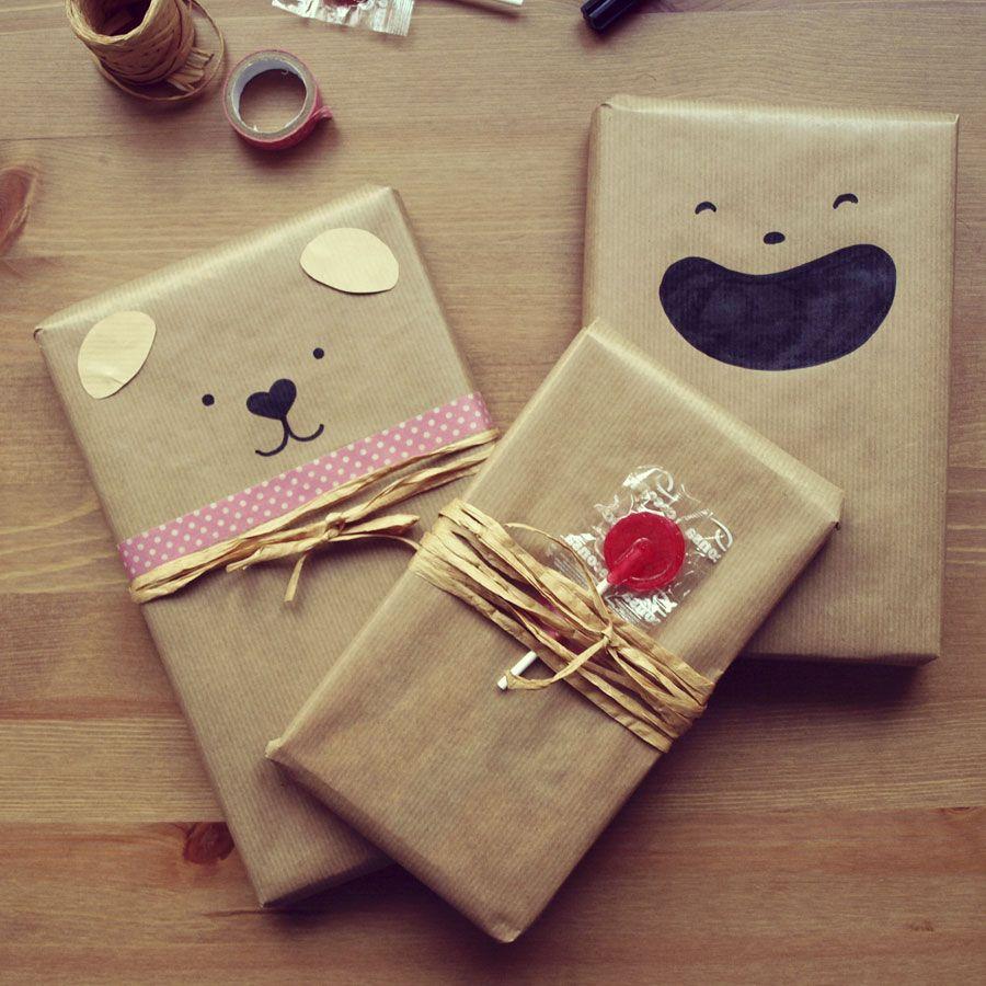 dibus en papel kraft para el envoltorio de un regalo diy gifts u printables pinterest regalitos y papel