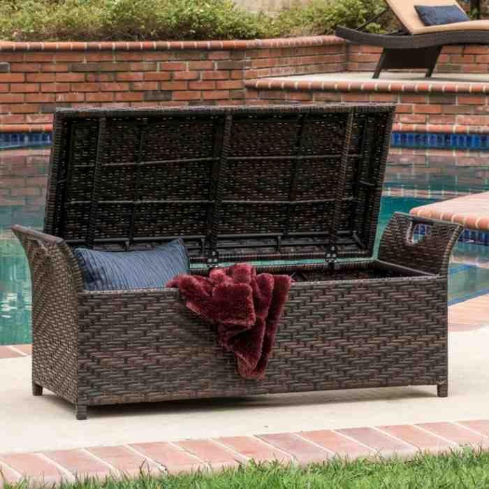 Outdoor Wicker Storage Bench Patio Storage Bench Outdoor Storage Bench Patio Storage