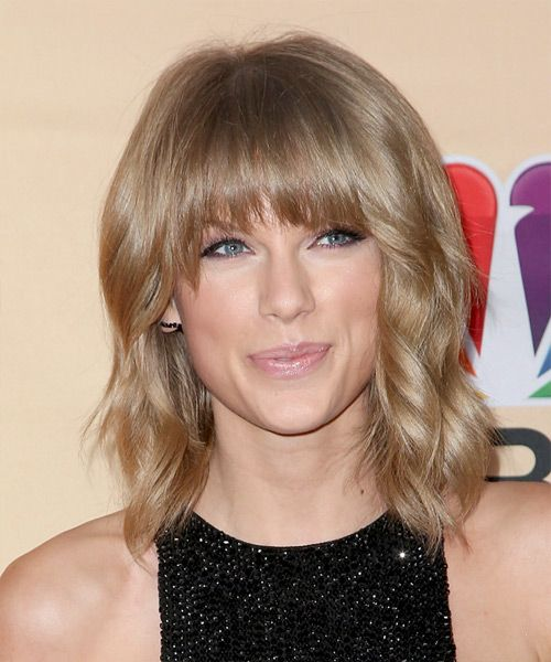 Virtual Hairstyles Free Glamorous Taylor Swift Medium Wavy Casual Hairstyle With Blunt Cut Bangs