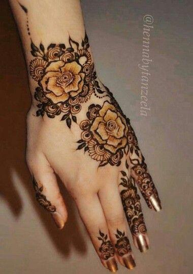 Rose Henna Desain Henna Henna Inai