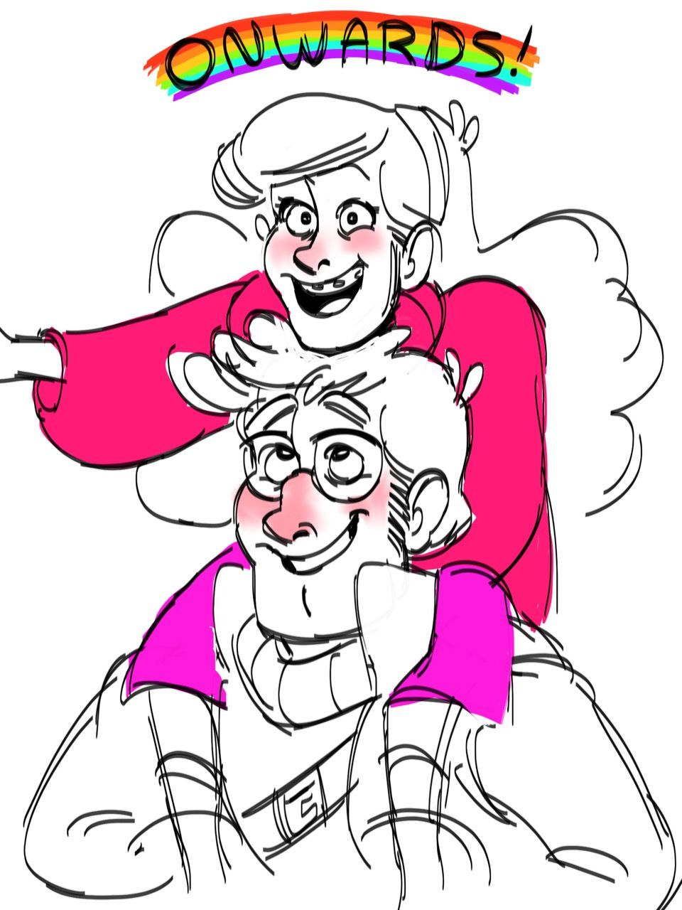 """kerbabbles: """"The future is in the past!! ONWARDS, GRUNKLE FORD!!!"""" I've been feeling a teensy bit down in the dumps tonight, so I drew these darlings to help cheer me up!!!"""