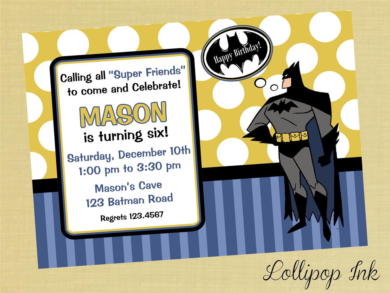 Batman Printable Invitation Personalized Birthday Invite Boy 1200 Via Etsy