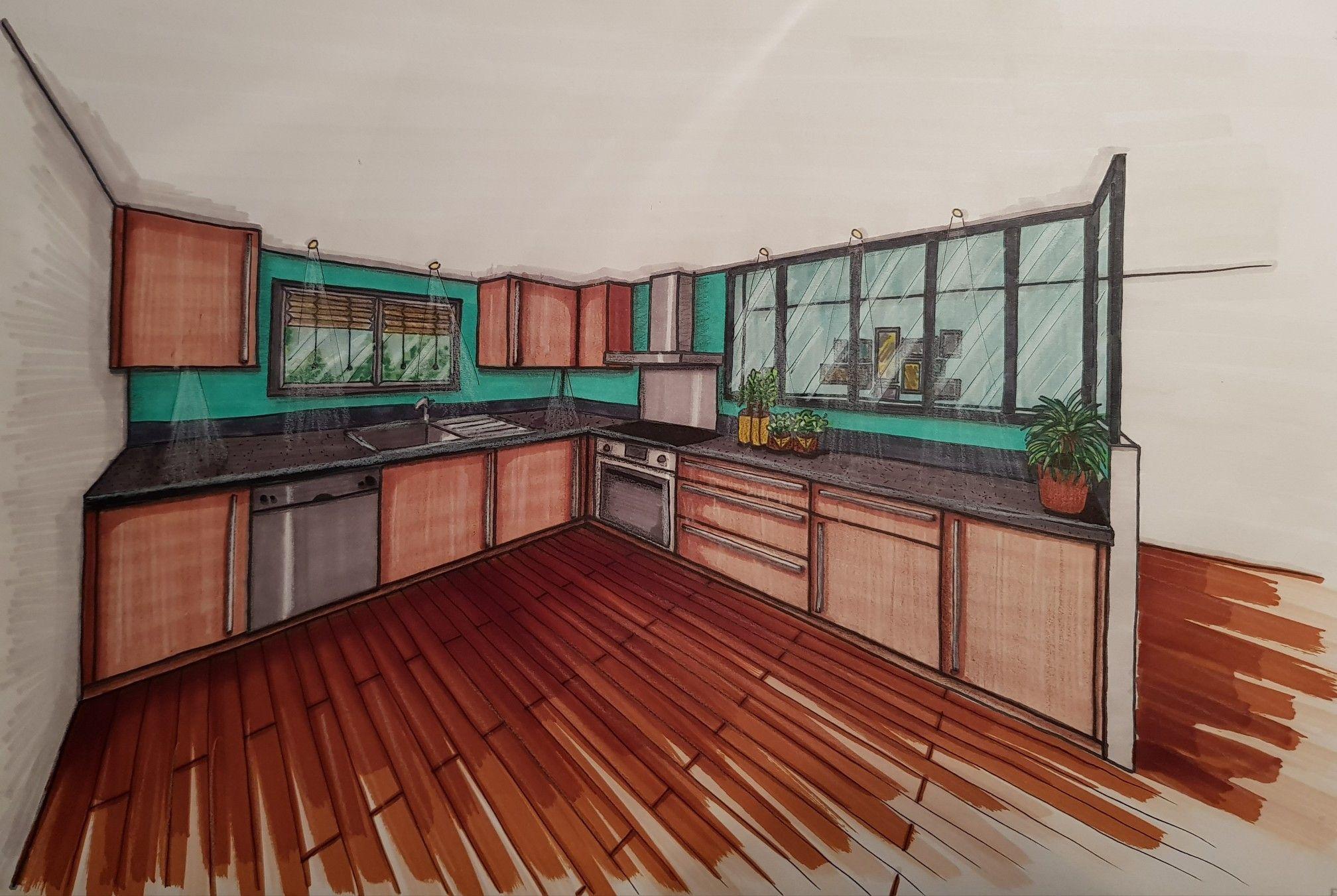 Architecte D Intérieur Decorateur perspective mise en couleurs - feutres à alcool, crayons de