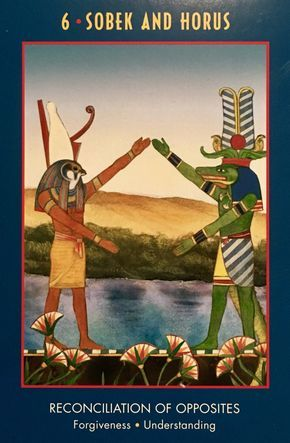 """March 18/2017 Daily Angel Oracle Card: Sobek and Horus, from the Anubis Oracle, by Nicki Scully and Linda Star Wolf, illustrated by Kris Waldherr Sobek and Horus: """"Reconciliation of Opposites; Forgiveness …"""