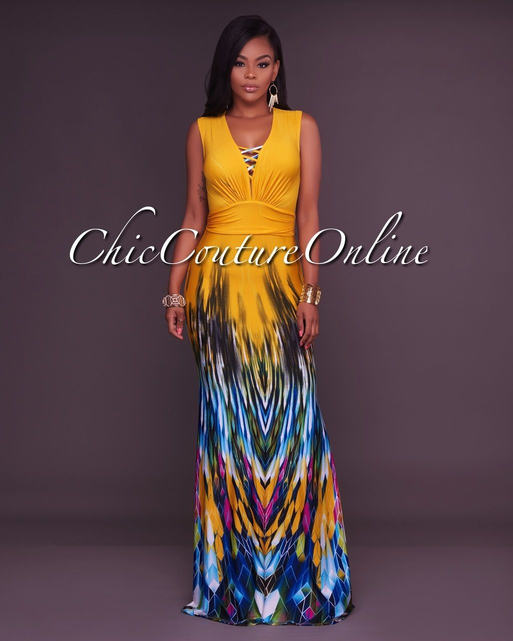 34daaae240f Chic Couture Online - Stephanelle Yellow Ombre Multi-Color Print Maxi  Dress