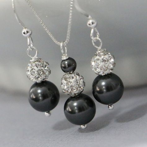 Black Pearl Jewelry Set, Black Pearl Bridesmaid Necklace and Earring Set, Charcoal Bridal Jewelry Set, Black Wedding Jewelry