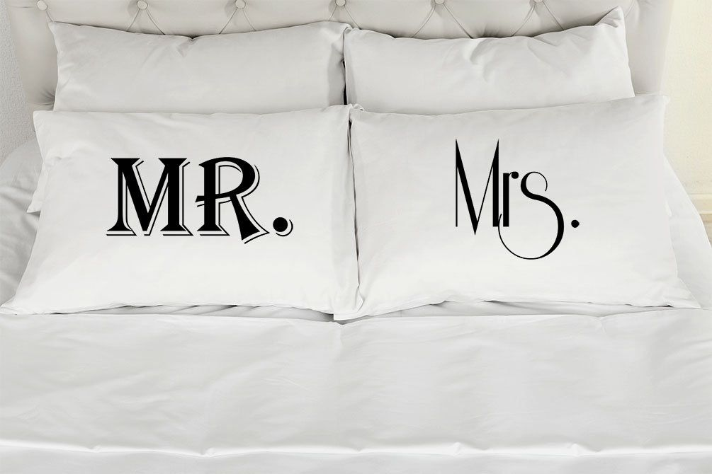 Couples Pillow Cases, Mr. Mrs. Custom Printed Pillowcases, Wedding Gift, Anniversary, Romantic Gift Idea by pillowgraphic on Etsy https://www.etsy.com/listing/228537116/couples-pillow-cases-mr-mrs-custom