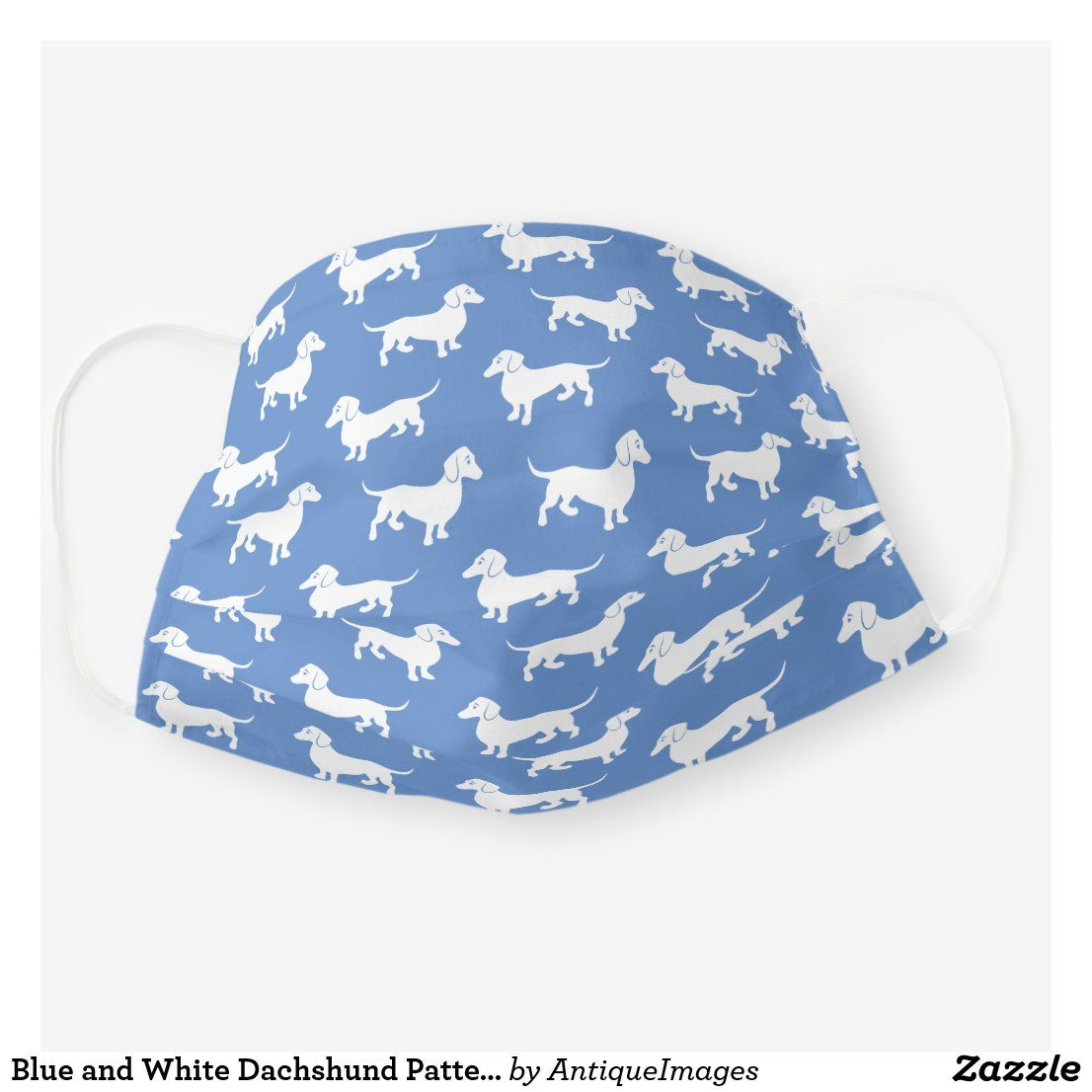 Diggy Christmas 2020 Hats Blue and White Dachshund Pattern Cloth Face Mask | Zazzle.in