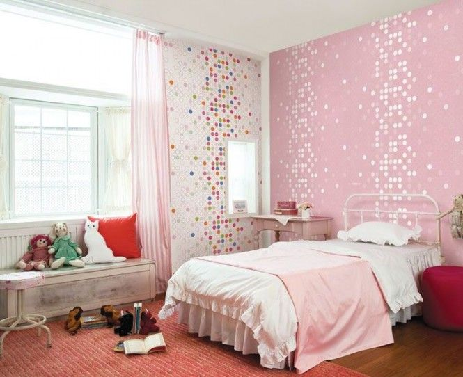 Kids Room Cute Pink Dotty Wallpaper Girls Bedroom Home Design Home Interior Decor Cute Room Decor Ideas Teenage Girl Painting Kids Room Cute Pink Dotty