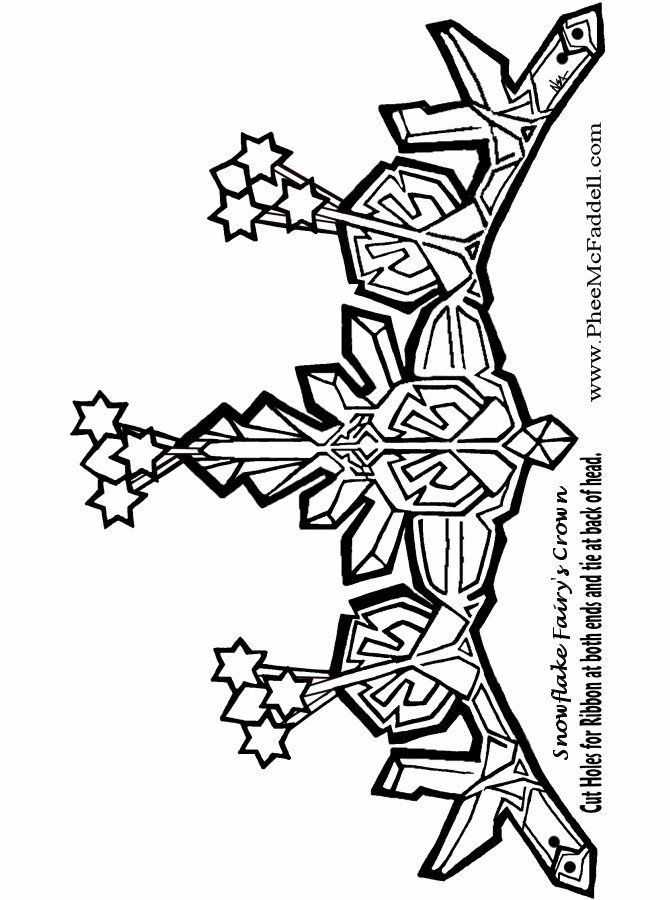 Snowflake Fairies Crown to color Black and White coloring and craft ...
