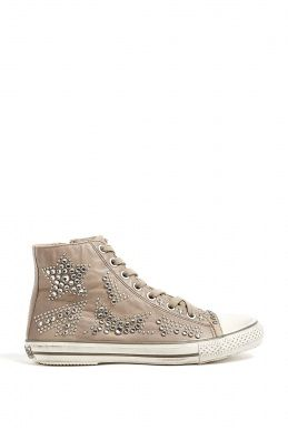 c520d4fb68fb42 Taupe Vibration Studded Leather High Top Trainer by Ash | |Shoes ...