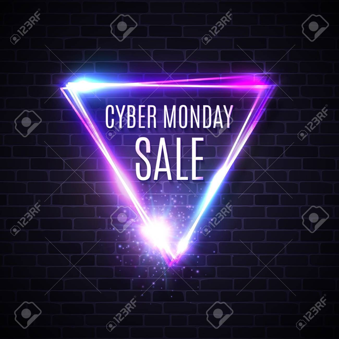 Triangle Design For Banner Flyer Sign Label Cyber Monday Text Inscription In Ne