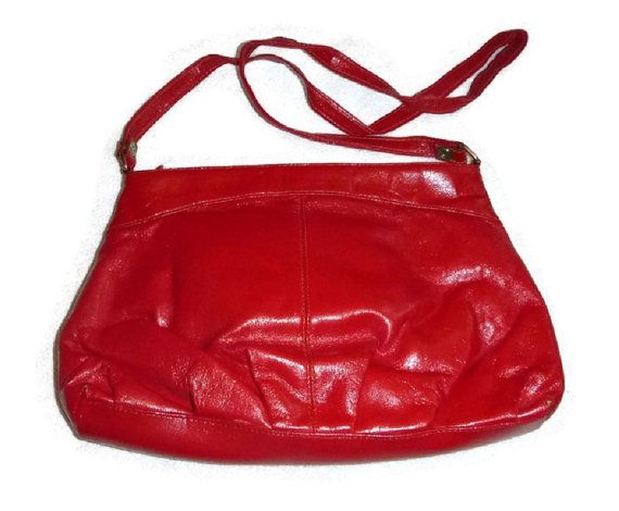 60s Mod Red Purse Vintage Bold Red Vinyl Hand Bag Rockabilly Fashion Accessory Retro 1960s 70's, Carnaby, Twiggy, Mary Quant Costume Handbag