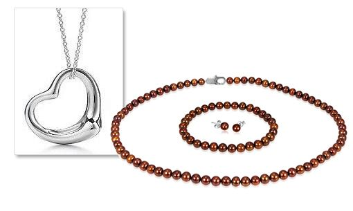 8/1/2012 Giveaway Jewelry Collection  $9.99  + FREE SHIPPING 5MM Brown Freshwater Pearl Necklace, Bracelet & Earring Set in 925 Sterling Silver + Free Heart Pendant