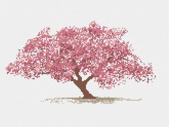 Asian Cherry Blossom Tree Cross Stitch Pattern Vintage Etsy Cross Stitch Tree Cross Stitch Beautiful Cross Stitch