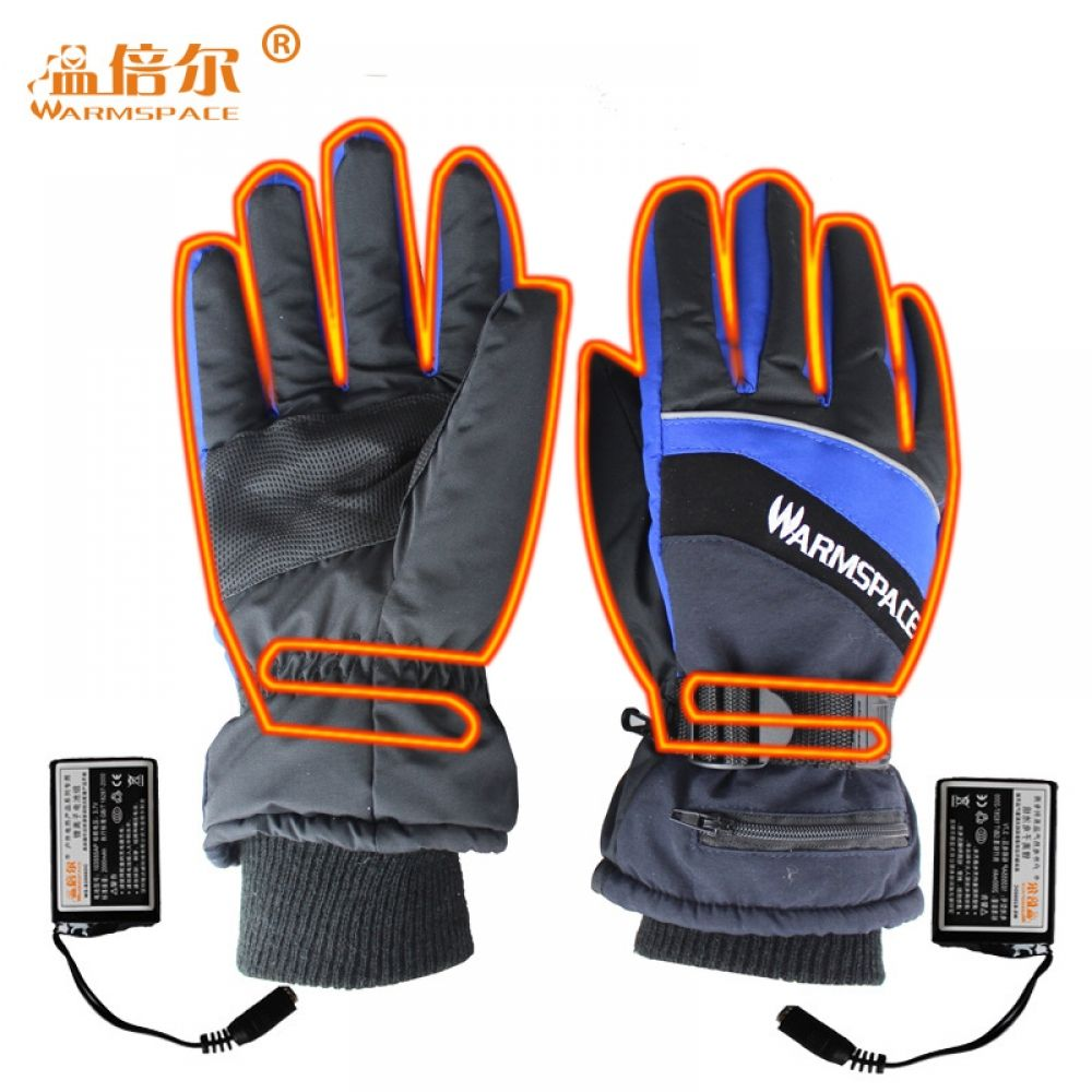 Unisex Battery Powered Heated Gloves Full Finger Motorcycle Ski Thermal Glove