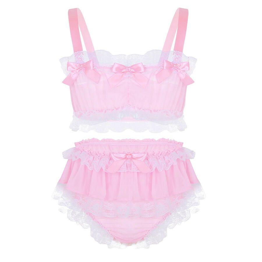 8899cadaebbf Men Lace Lingerie Set Sissy Pouch Briefs Panties Bra Tops Bikini Underwear  Set#Set#Sissy#Pouch