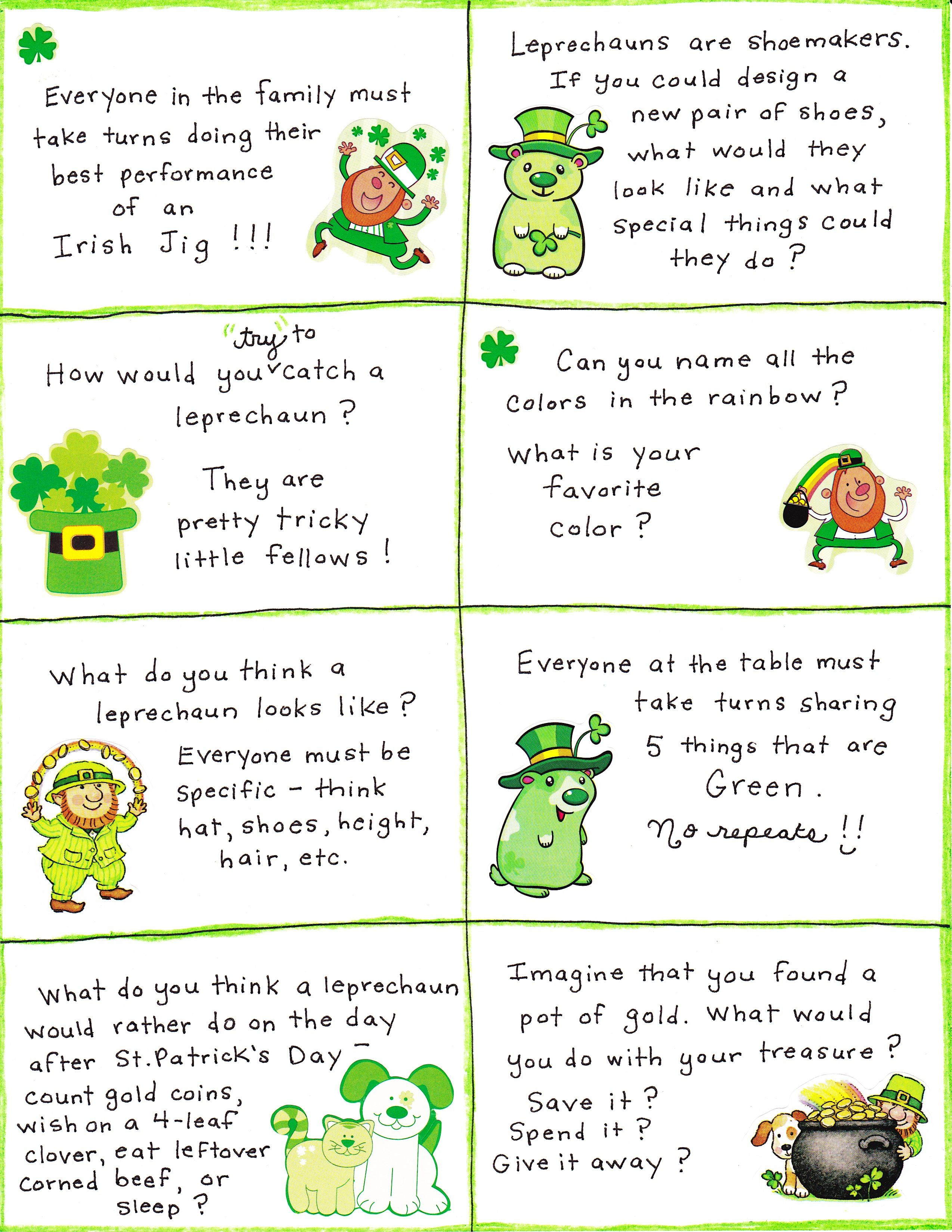 Uncategorized St Patricks Day Jokes For Kids st patricks day conversation cards free printable social looking for a way to spice up dinner this season