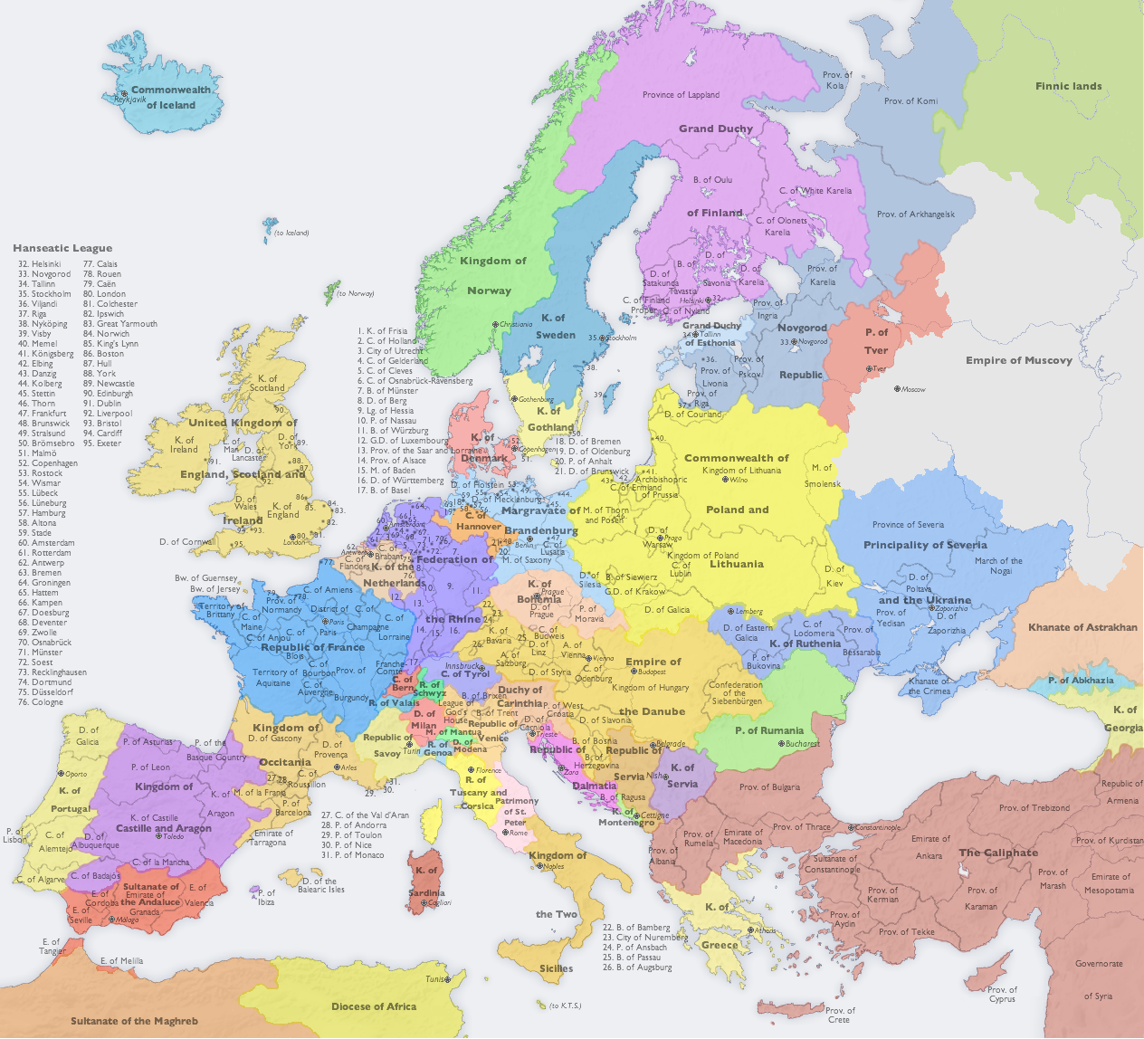 Map of Europe in 1700 - created by ~djinn327 on deviantART ...