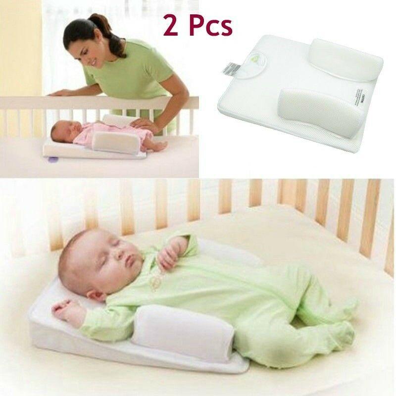 2 Pcs Newbron Pillow Baby Infant Sleep Positioner Prevent Baby Vomit Milk Pad Prevent Flat Head Shape Anti Roll Baby Pillows Baby Sleep Pillow Newborn Bassinet