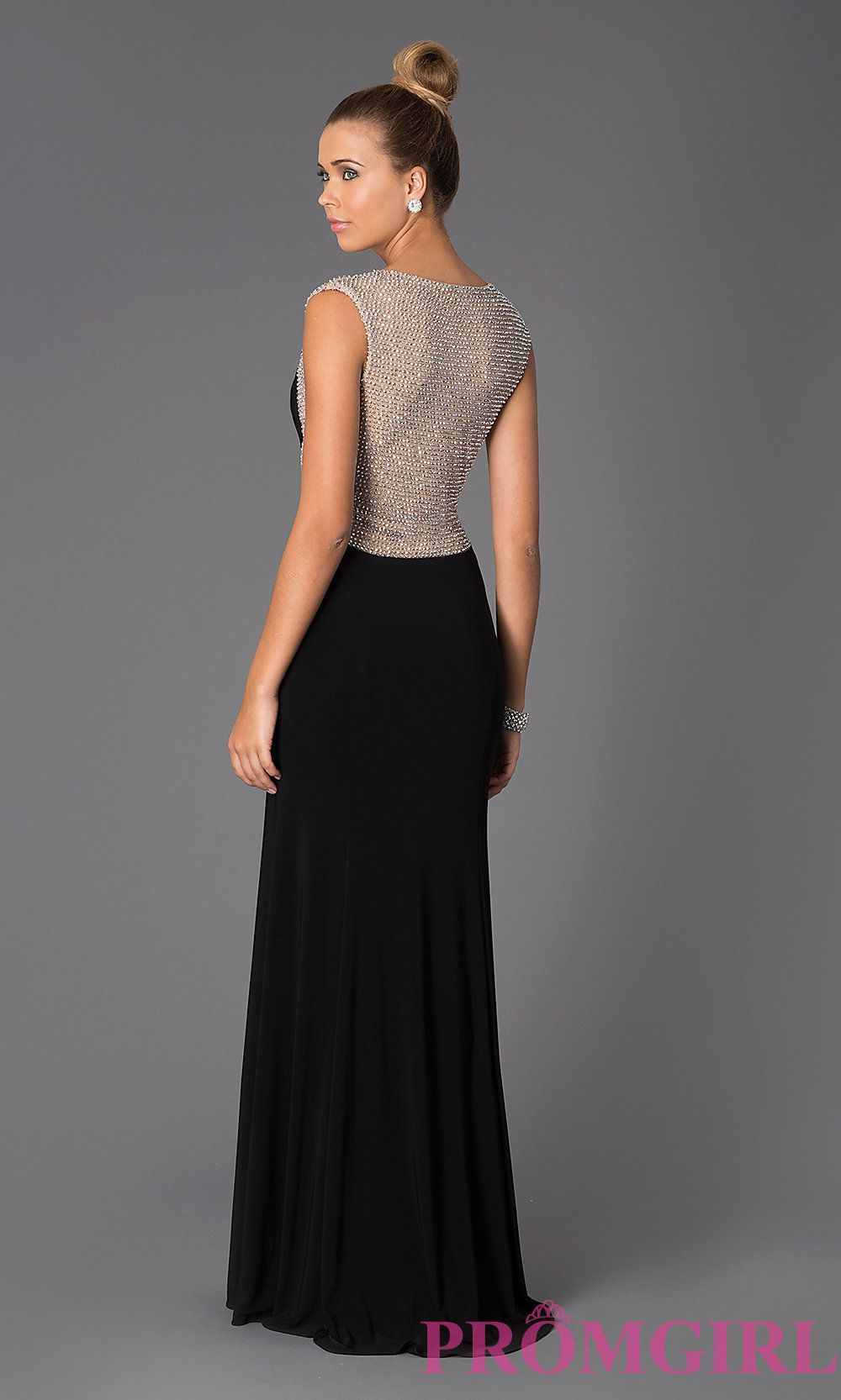 Image of long black gown for prom style xxs back image