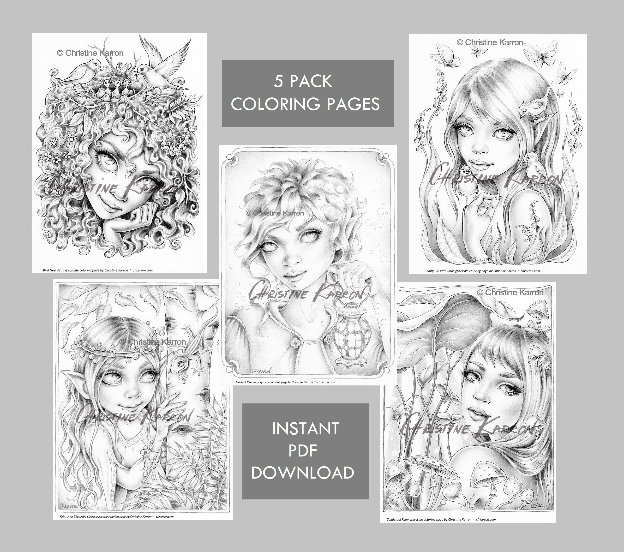Set Of 5 Fairy Elf Grayscale Coloring Pages 5 Pack Instant Download Pdf Files Grayscale Coloring Coloring Pages Grayscale [ 2300 x 2600 Pixel ]