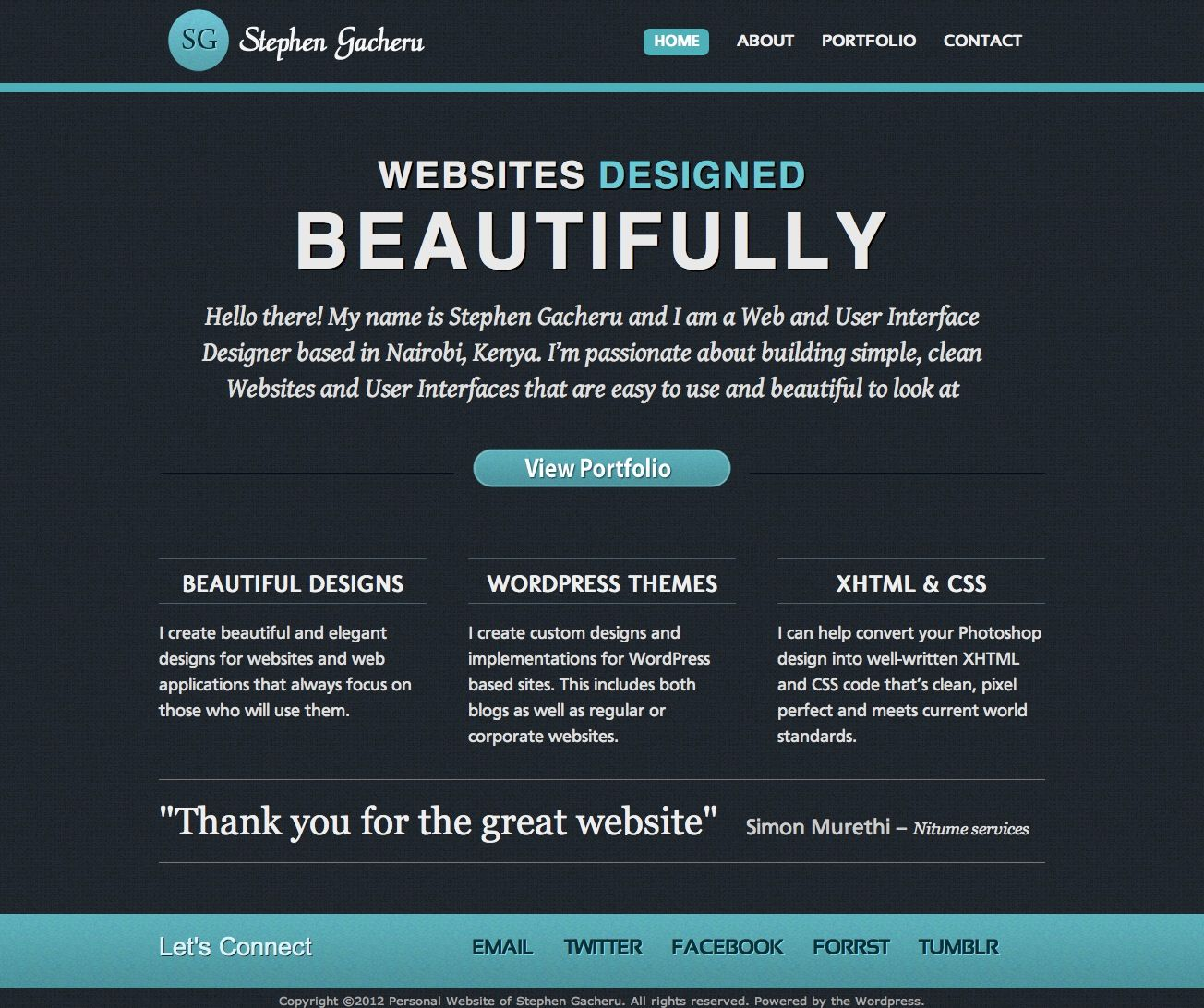 Personal Website Of Stephen Gacheru Simple Website Web Design Clean Websites