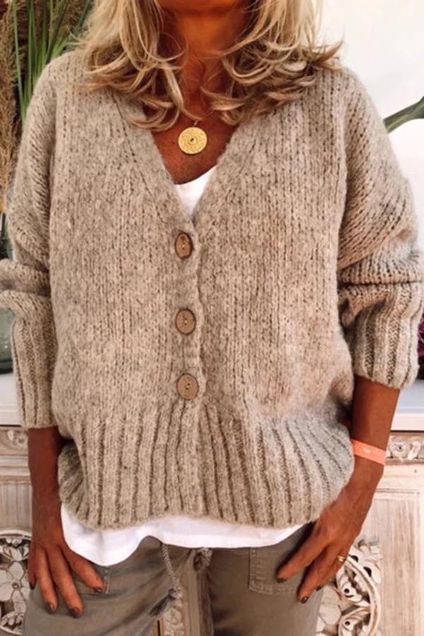 Button Down V Neck Solid Casual Sweater – dresshopnow #autumnseason