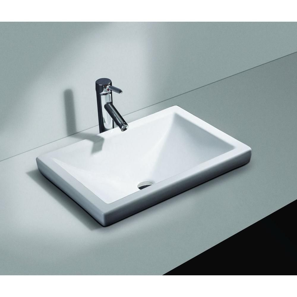 Filament Design Cantrio Semi Recessed Bathroom Sink In White Ps 111 The Home Depot Drop In Bathroom Sinks Contemporary Bathroom Sinks Modern Bathroom Sink