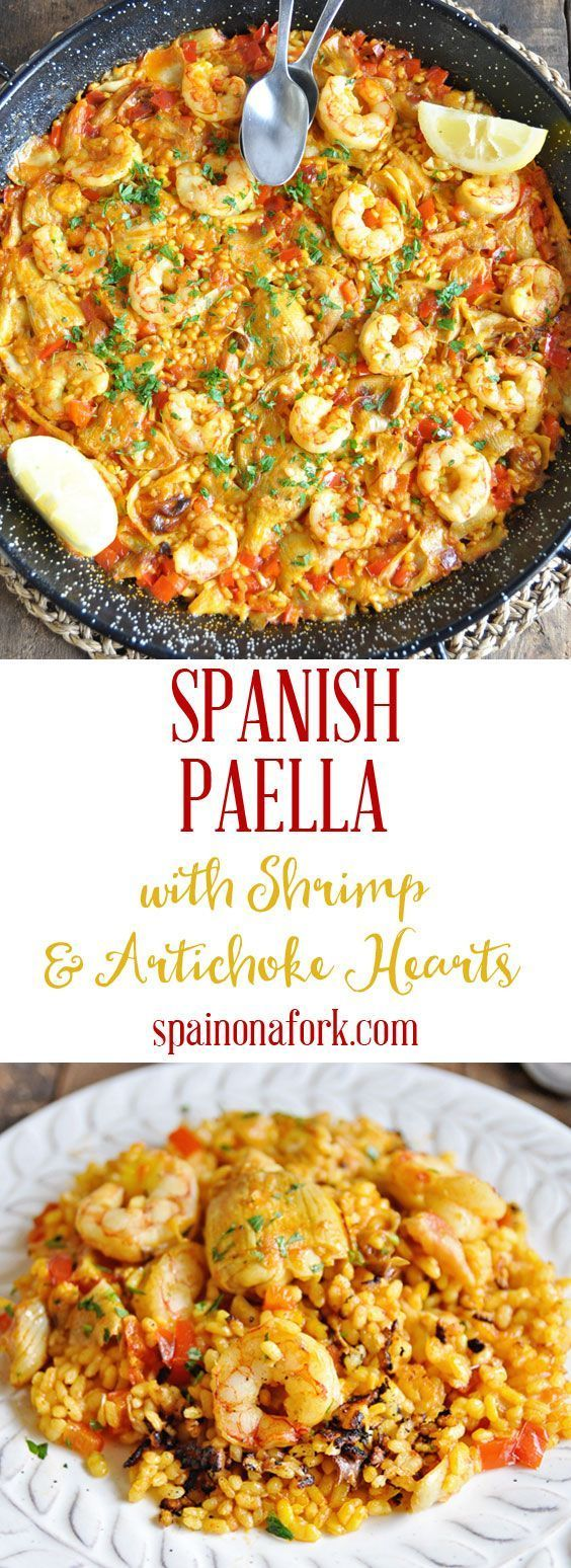Spanish Paella Recipe with Shrimp & Artichoke Hearts - Spain on a Fork