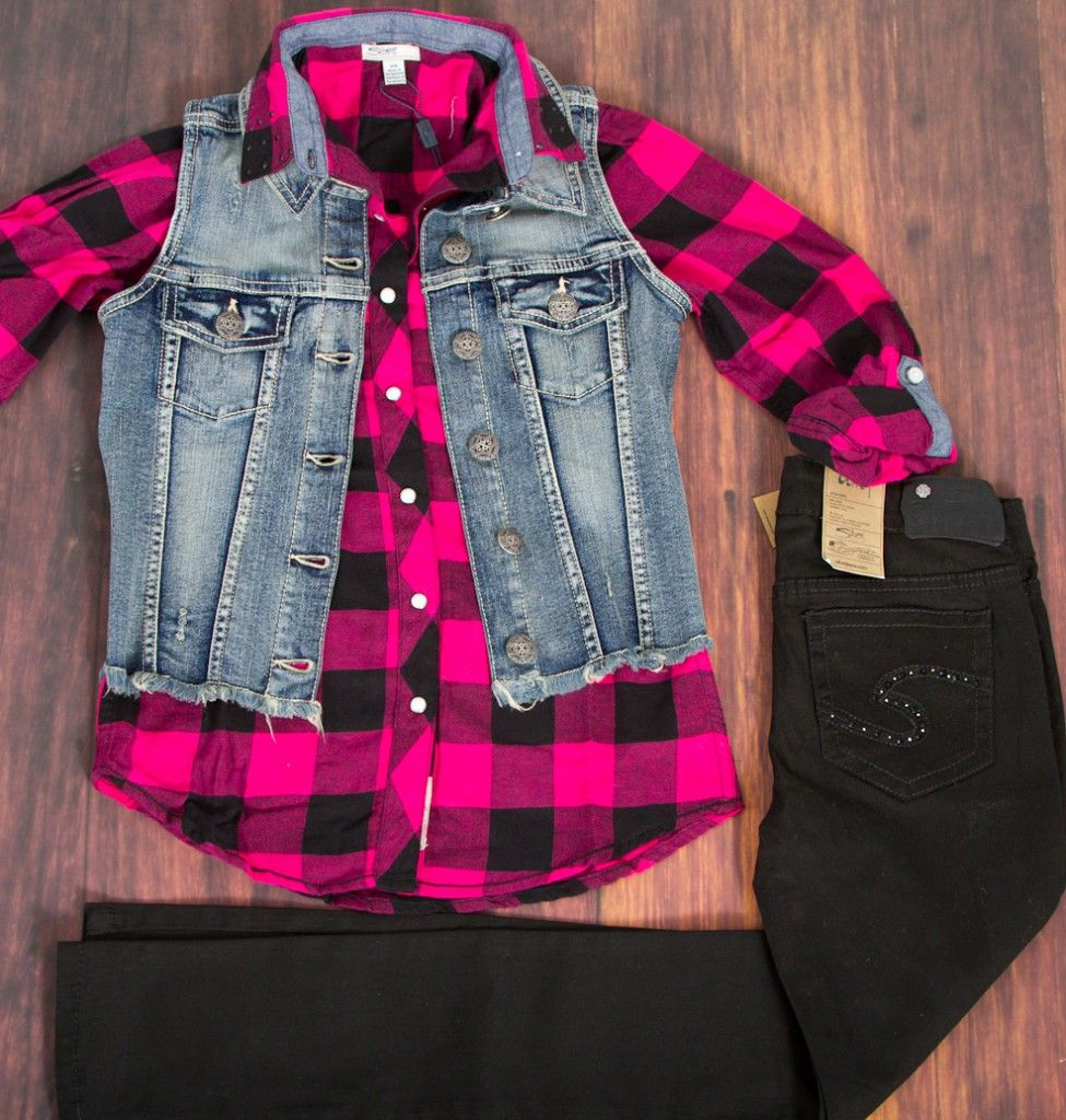 Silver Jeans Co. denim vest, check shirt   Amy jeggings for girls ...