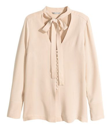 5fed08a5fc788 V-neck blouse in light beige mulberry silk with a tie at neckline ...