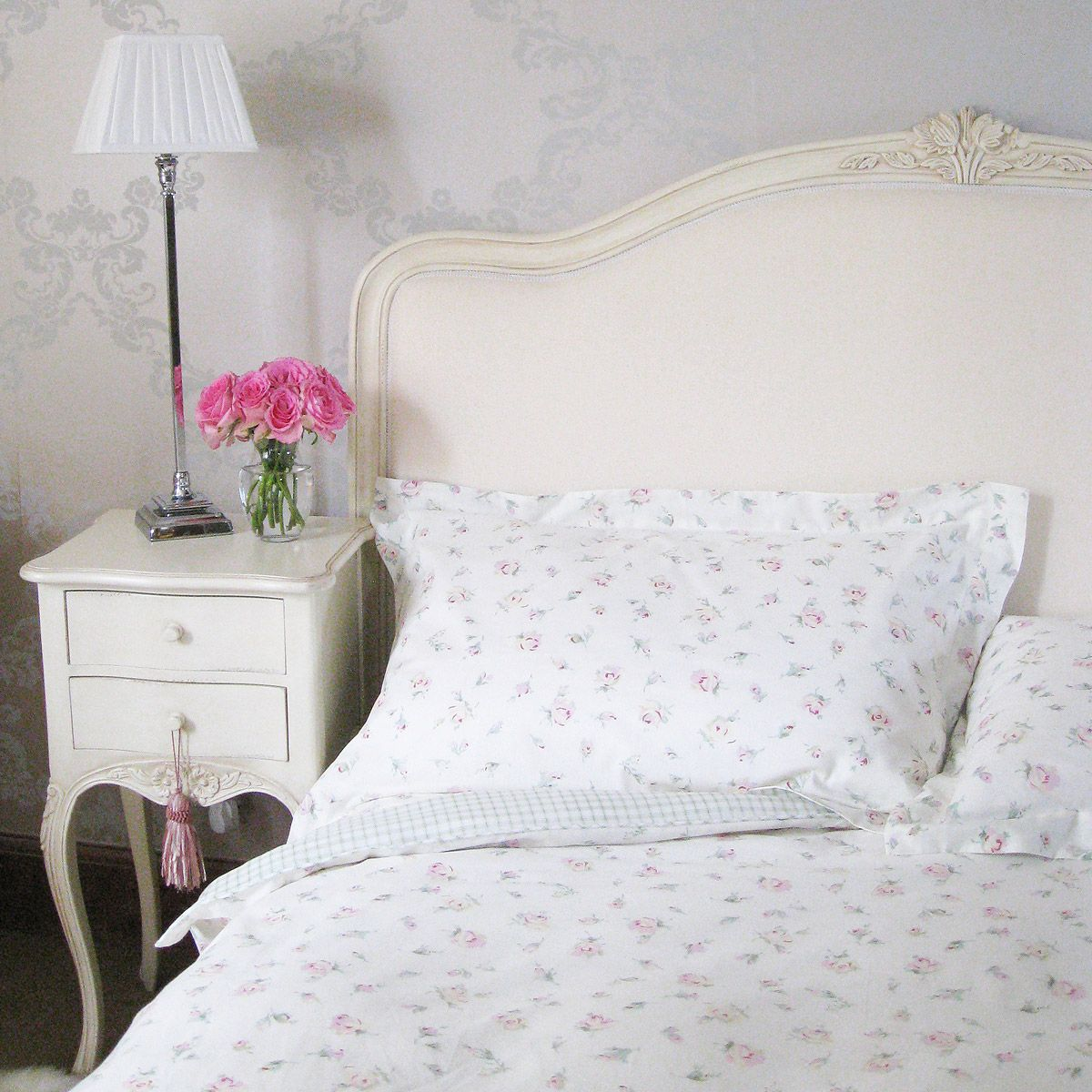 Parisian Upholstered Shabby Chic Bed in Antique Cream