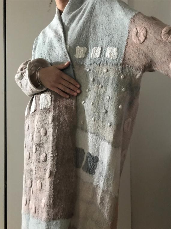 Frauen Mantel, übergroße, tragbare Kunst, Nuno gefilzt Mantel, Designer-Mantel, handgefertigt, gefilzte Jacke, Öko-Mode, Wollmantel, gefilzte Kleidung