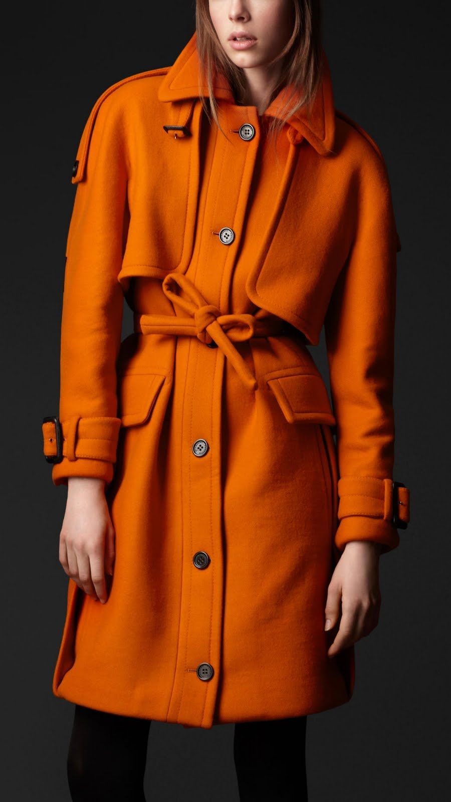 orange wool coat | Virgin Wool Trench Coat: Burberry | Autumn ...